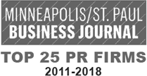 Minneapolis/St. Paul Business Journal - 2011-2018 Top 25 PR Firms Logo